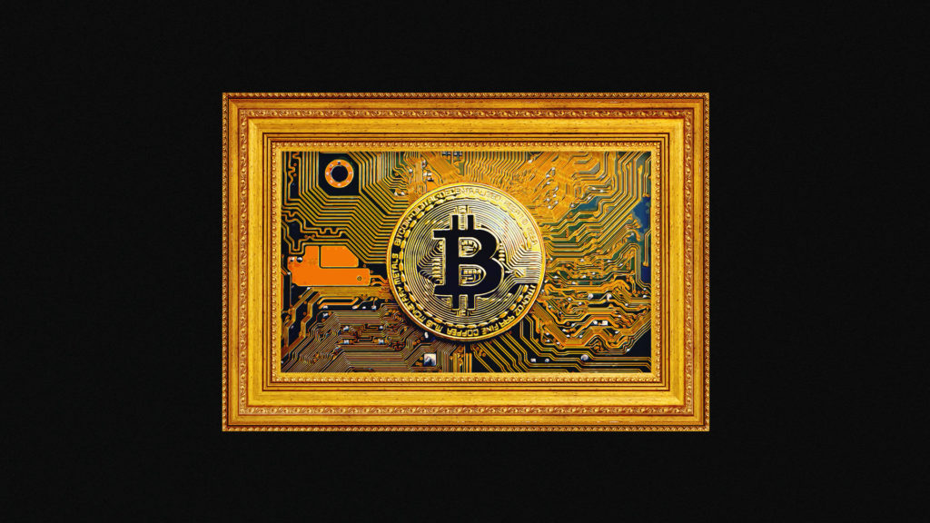 A gold picture frame containing a large ornate Bitcoin logo that symbolises and NFT