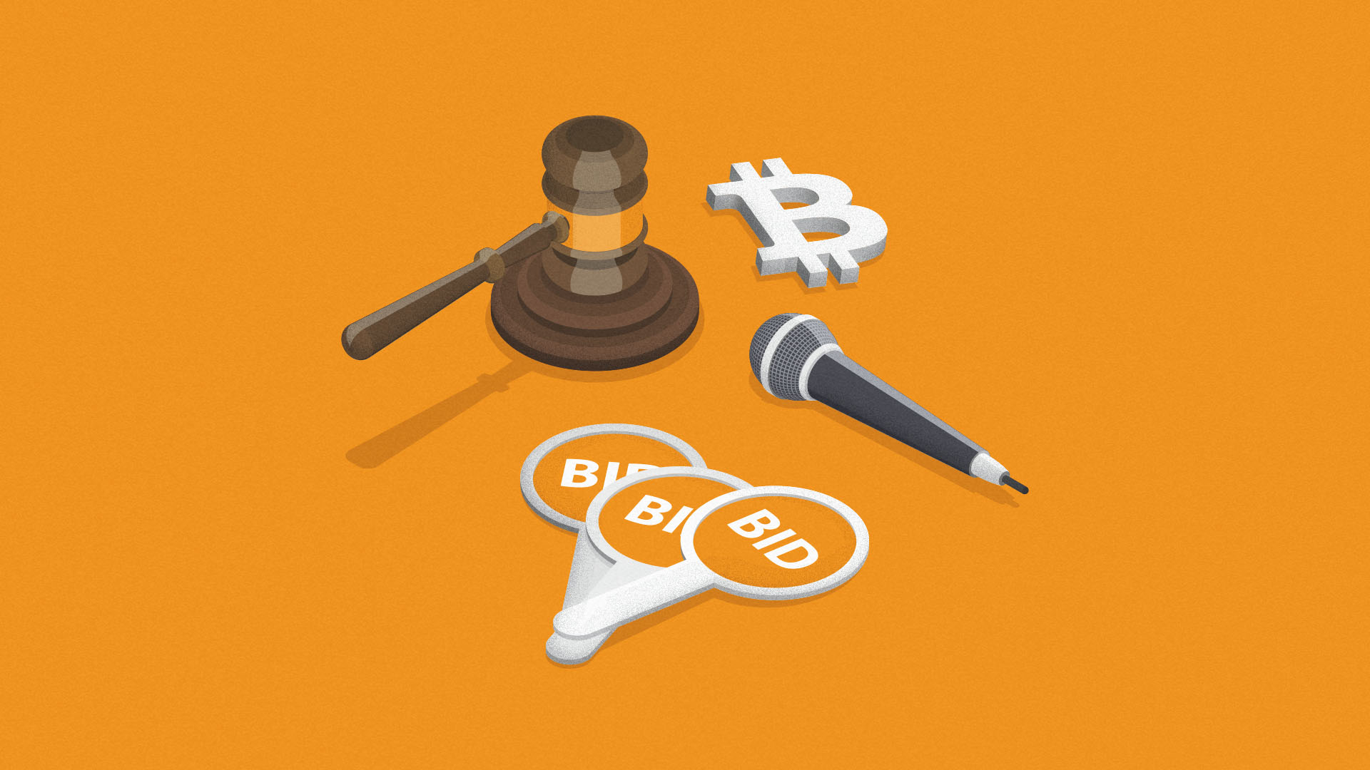 An auctioneer's gavel, auction paddles and a microphone sit on an orange background next to a Bitcoin symbol