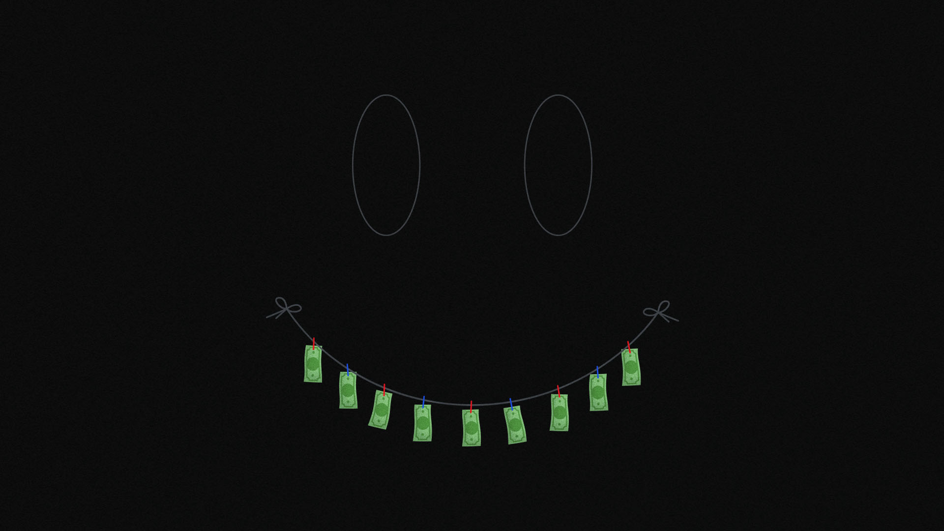an image of smiley face with banknotes for teeth