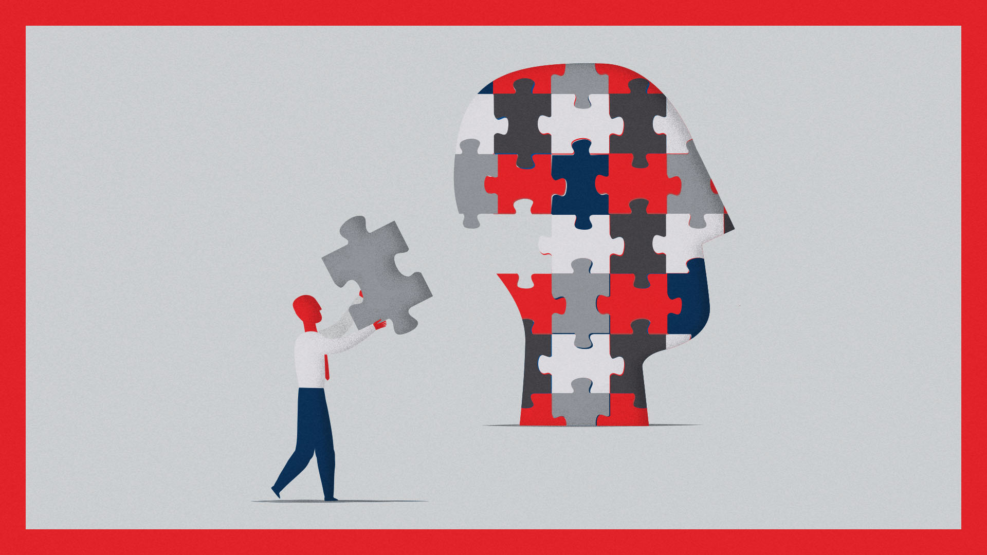 A person placing the last piece of a head-shaped jigsaw coloured using the Time Magazine brand palette