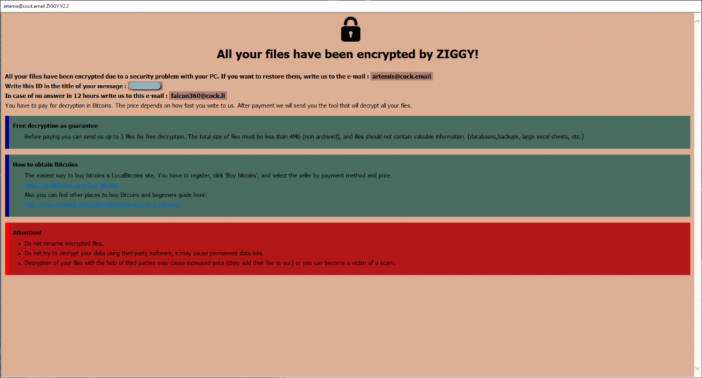 Ziggy ransomware ransom note detailing how to obtain and pay in Bitcoin