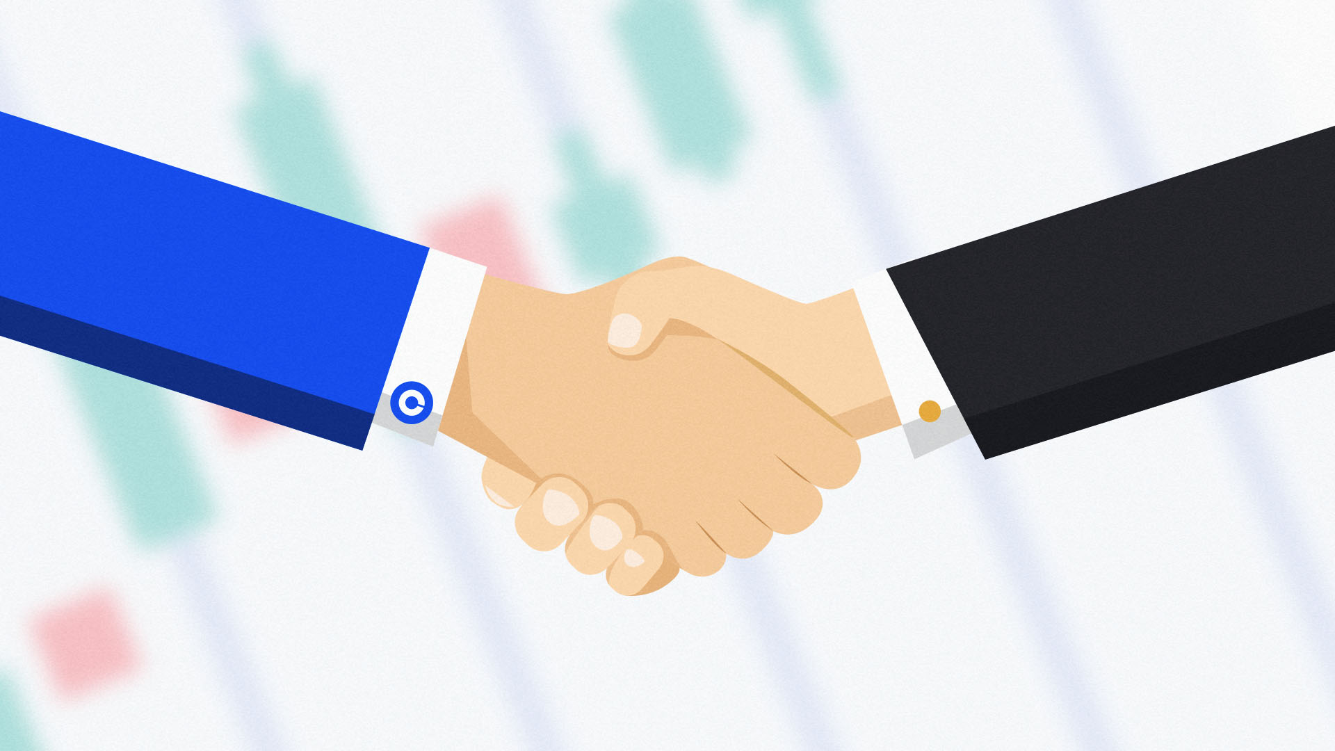 Two businesspeople shaking hands one of which has a Coinbase logo cufflink, cos it just bought Skew.