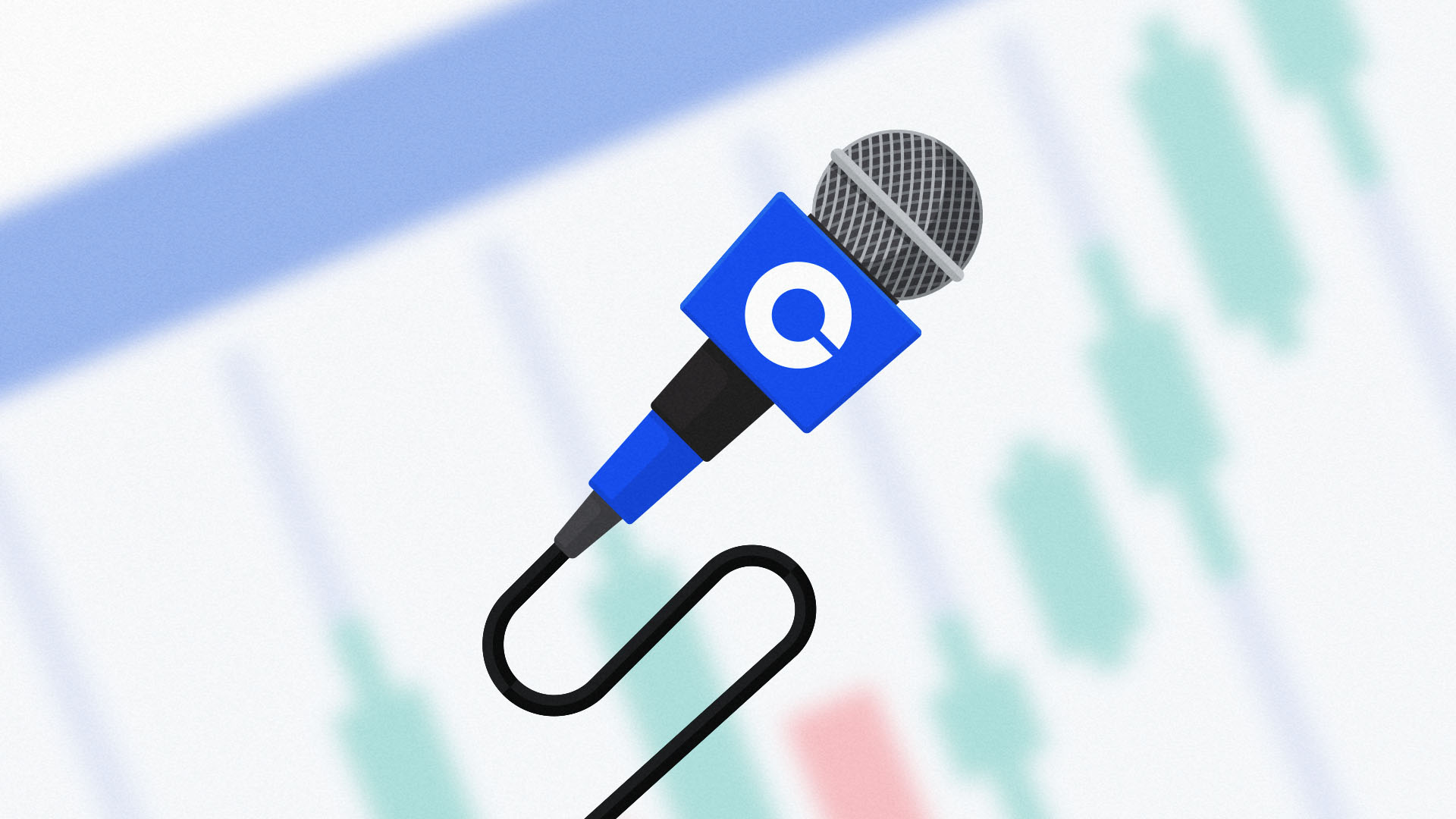 A microphone in Coinbase brand colours and bearing the Coinbase logo, because the company just addressed rumors of execs selling all their stock.