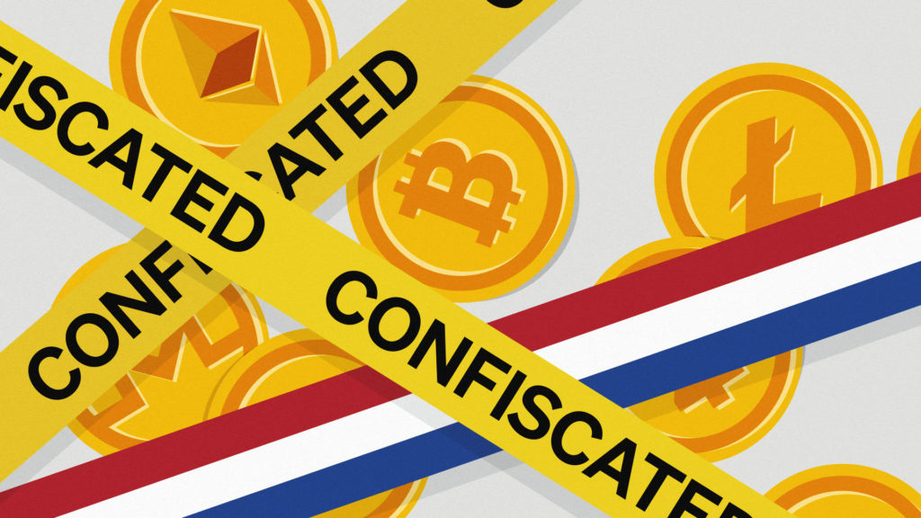 Bitcoin and other cryptocurrencies behind police tape one piece of which is the colours of the Dutch flag