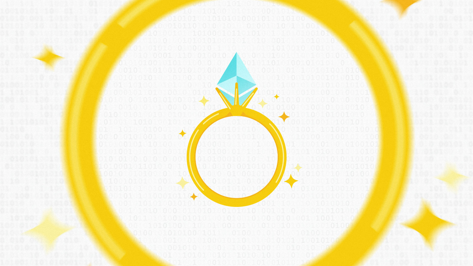 A gold wedding ring with the diamond made from the Ethereum logo