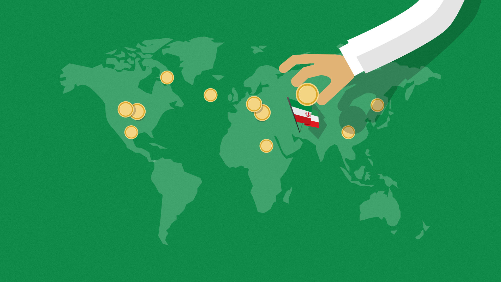 world map with hand placing coin near a flag symbolising Iran crypto mining