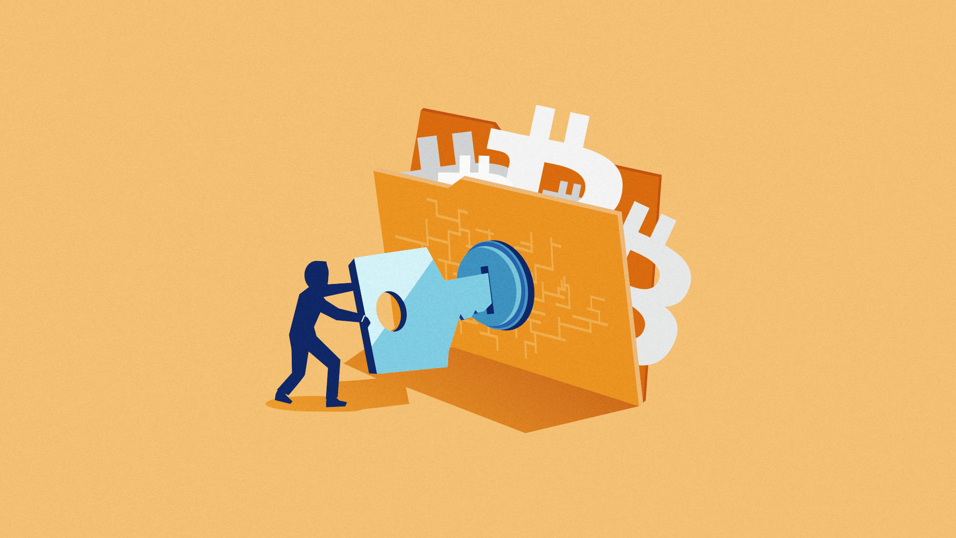 A person using a large key to lock a file containing Bitcoin logos