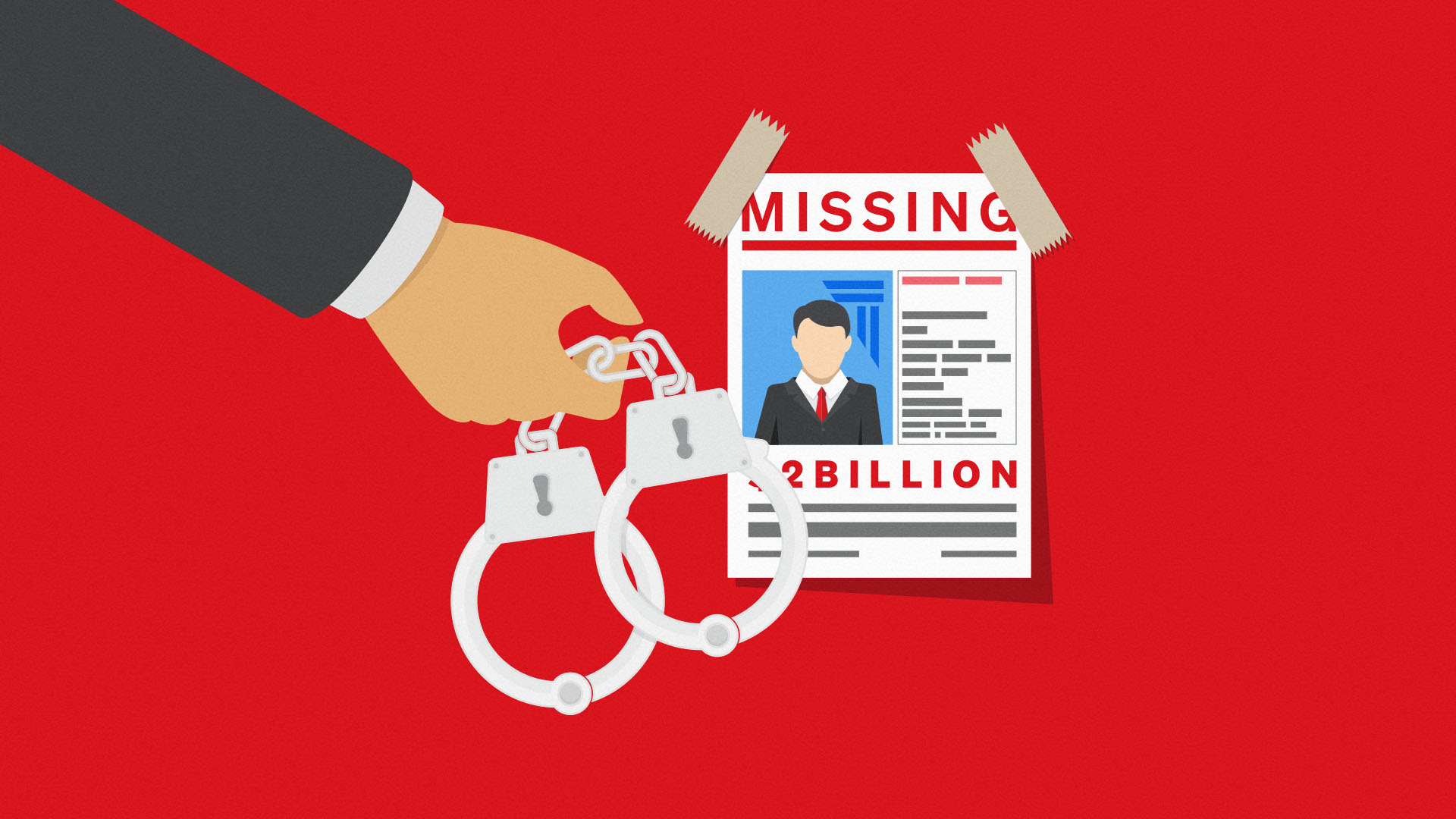 A pair of handcuffs in front of a missing poster symbolising missing Thodex CEO