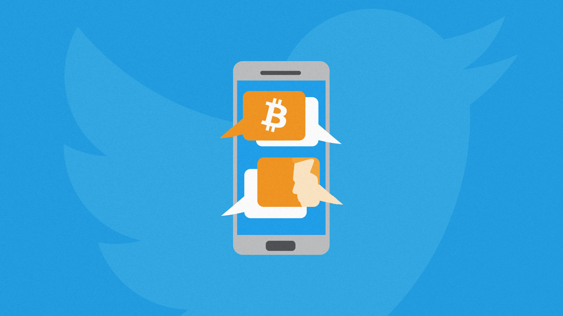 Bitcoin logo and chat bubbles on a smartphone screen with a human face representing Elon Musk