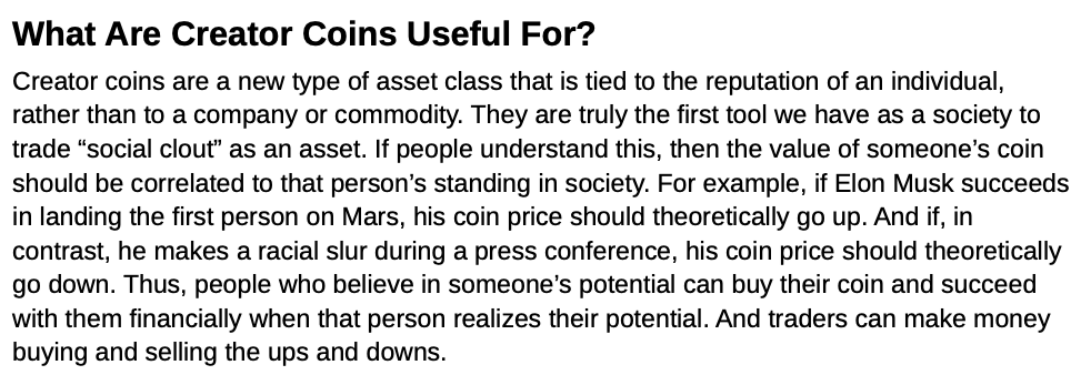 This is an excerpt of the BitClout marketing materials that describe what its creator coins are used for.