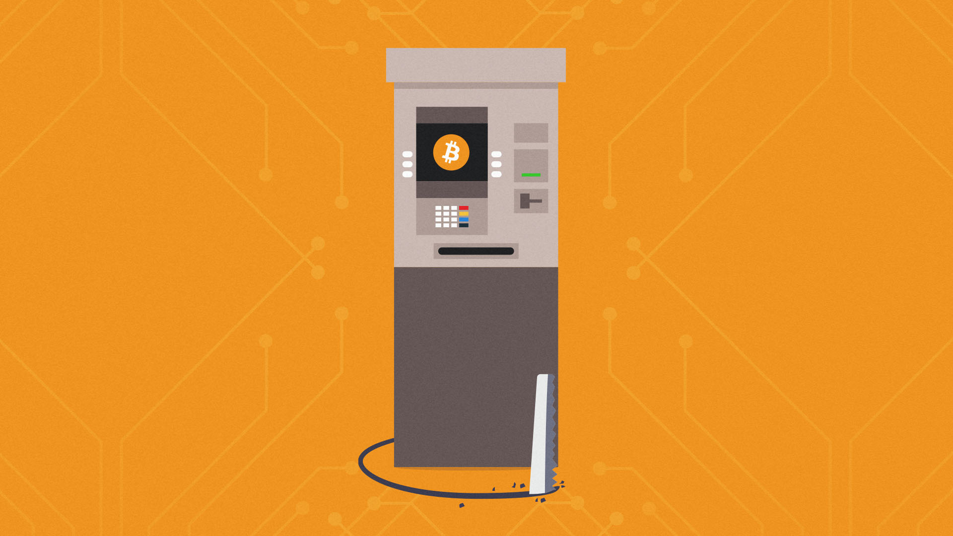 This is a cute image of a Bitcoin ATM, after an operator had crypto stolen directly out of its wallet.