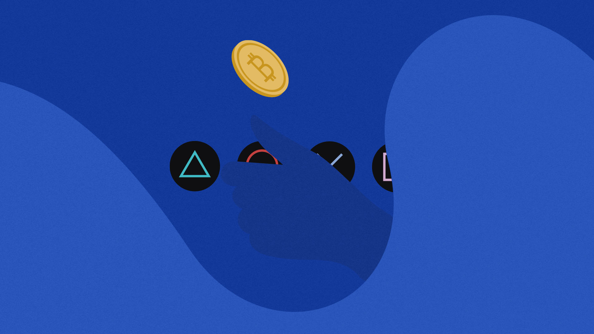 Hand flipping a Bitcoin in front of Sony Playstation button symbols