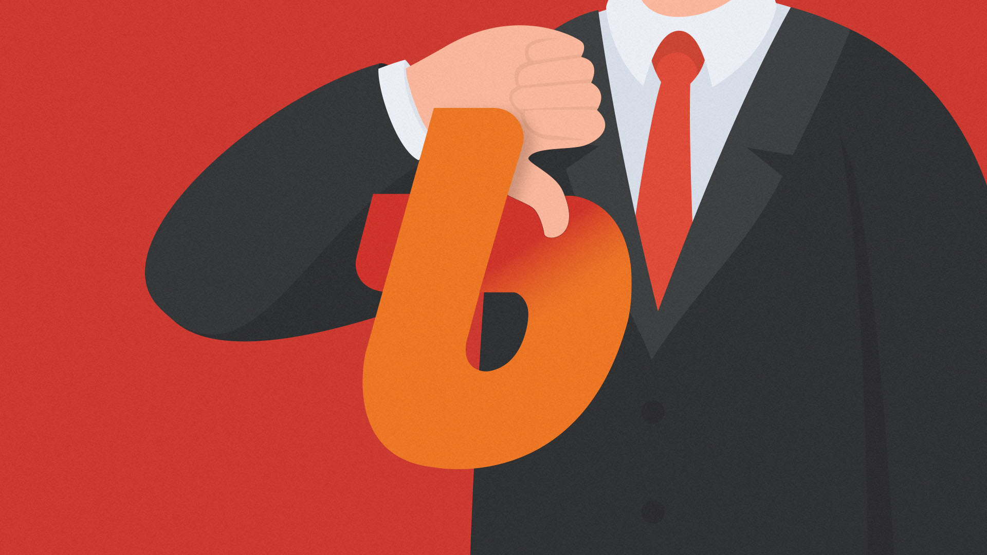 Bithumb logo in front of suited person giving thumbs down gesture