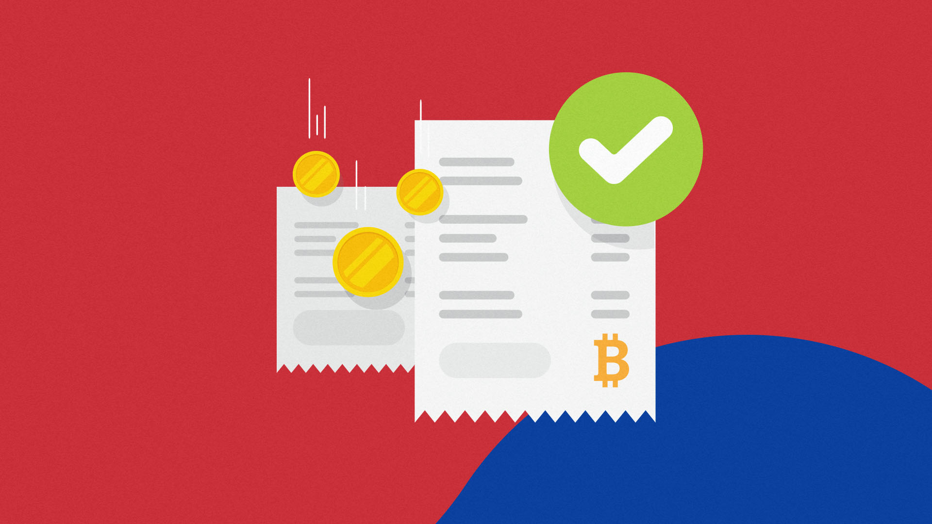 Bank documents with Bitcoin logo and a green tick in front of a South Korean flag