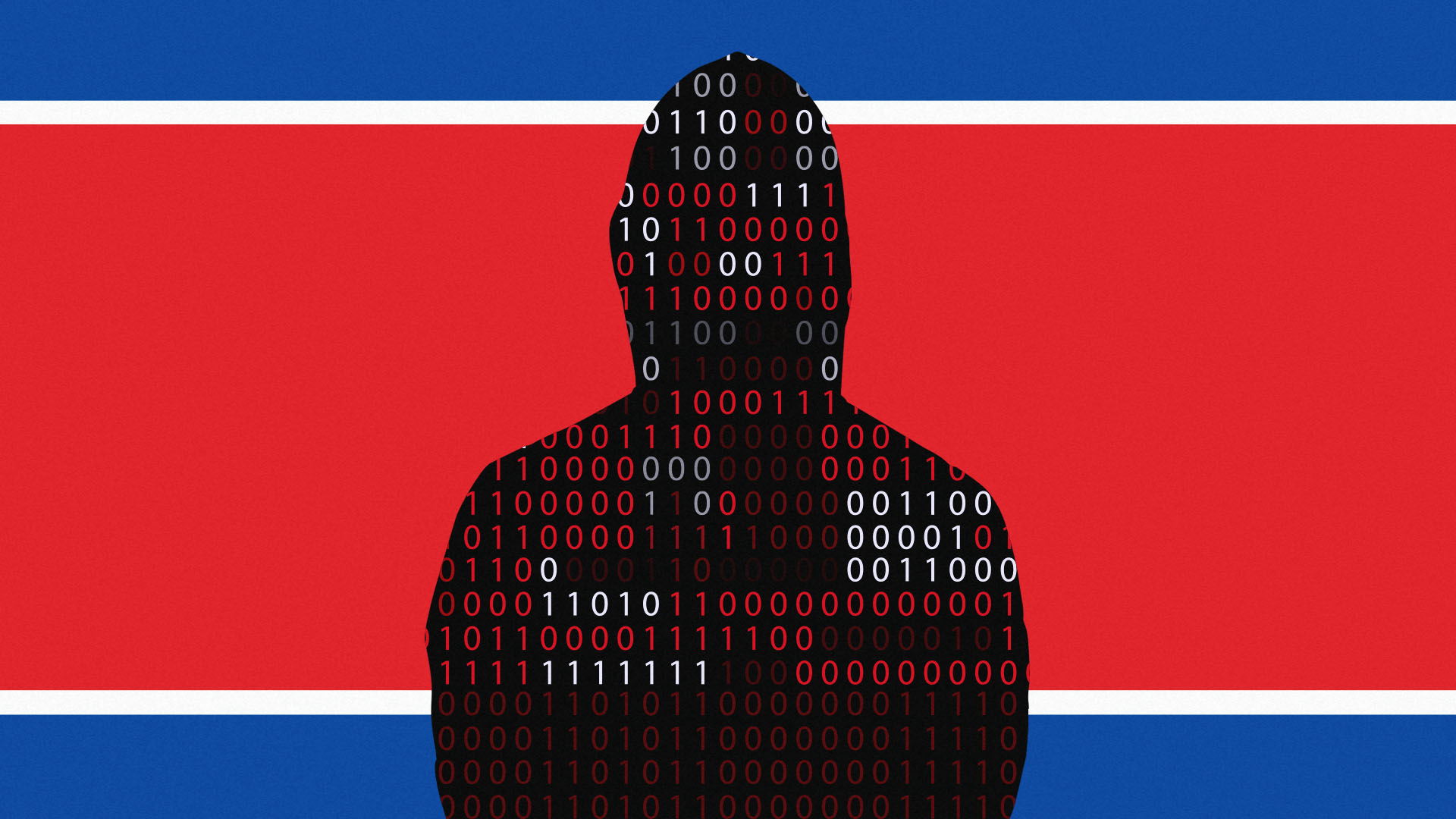 This is a hacker standing in front of a North Korean flag to represent Lazarus crew.