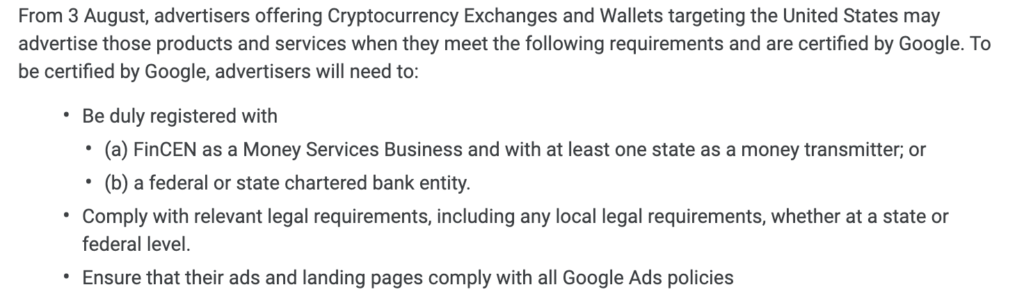 An excerpt from the new Google Ads policy for crypto-related companies.
