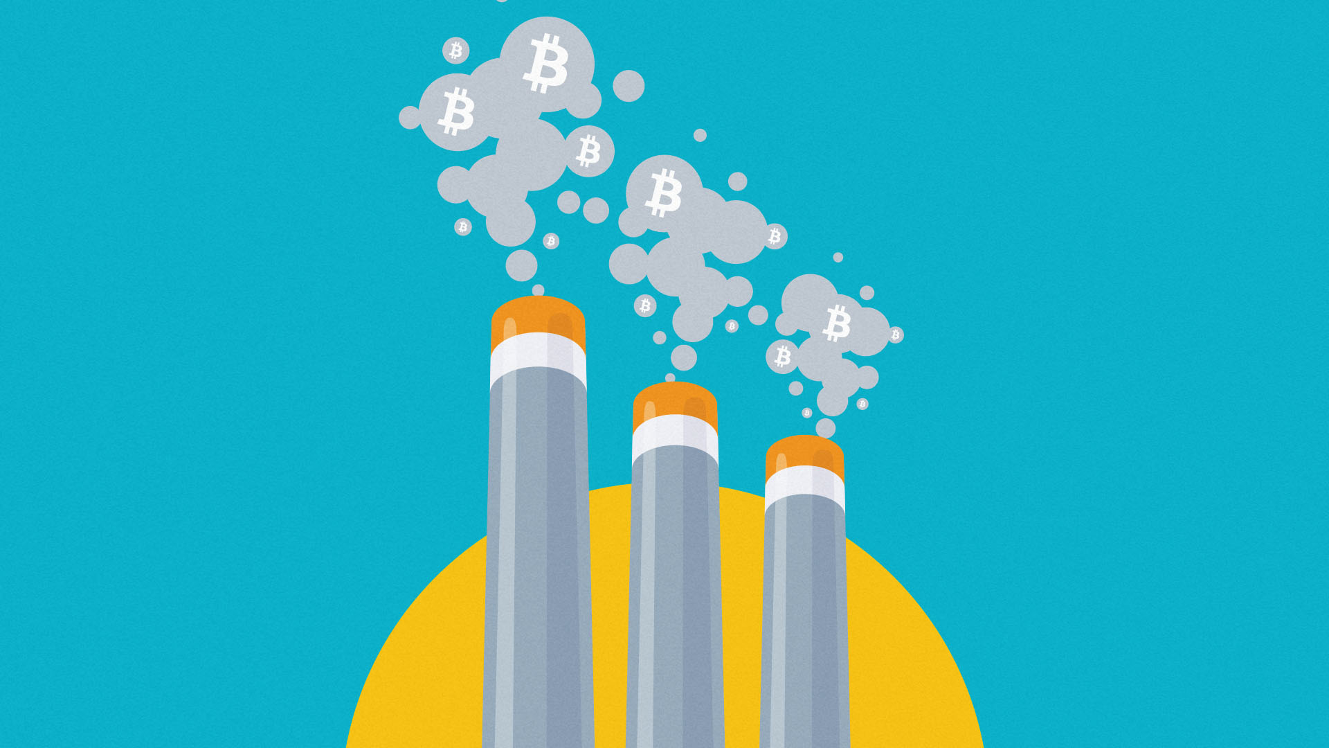 Three chimney stacks bellowing out grey fumes shaped like the bitcoin logo. The background and stacks resemble the colours of the Kazakhstan flag.